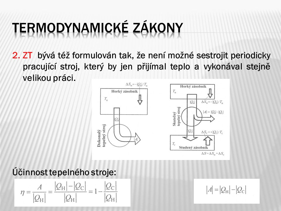 2. ZT bývá též formulován tak, že není možné sestrojit periodicky pracující stroj, který by jen přijímal teplo a vykonával stejně velikou práci. Účinn