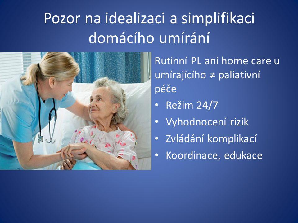 Pozor na idealizaci a simplifikaci domácího umírání Rutinní PL ani home care u umírajícího ≠ paliativní péče Režim 24/7 Vyhodnocení rizik Zvládání komplikací Koordinace, edukace