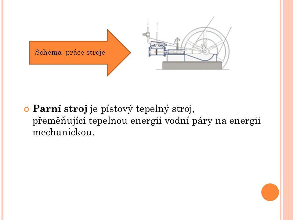 Parní stroj je pístový tepelný stroj, přeměňující tepelnou energii vodní páry na energii mechanickou. Schéma práce stroje