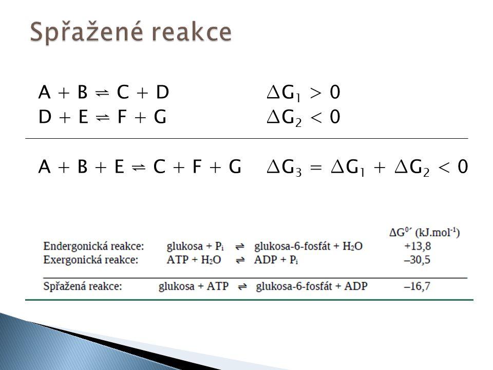 A + B ⇌ C + D ∆G 1 > 0 D + E ⇌ F + G ∆G 2 < 0 A + B + E ⇌ C + F + G ∆G 3 = ∆G 1 + ∆G 2 < 0