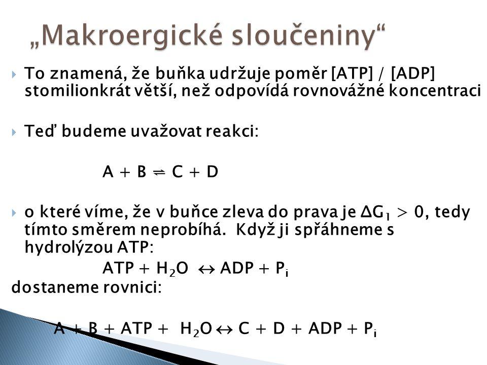  To znamená, že buňka udržuje poměr [ATP] / [ADP] stomilionkrát větší, než odpovídá rovnovážné koncentraci  Teď budeme uvažovat reakci: A + B ⇌ C +