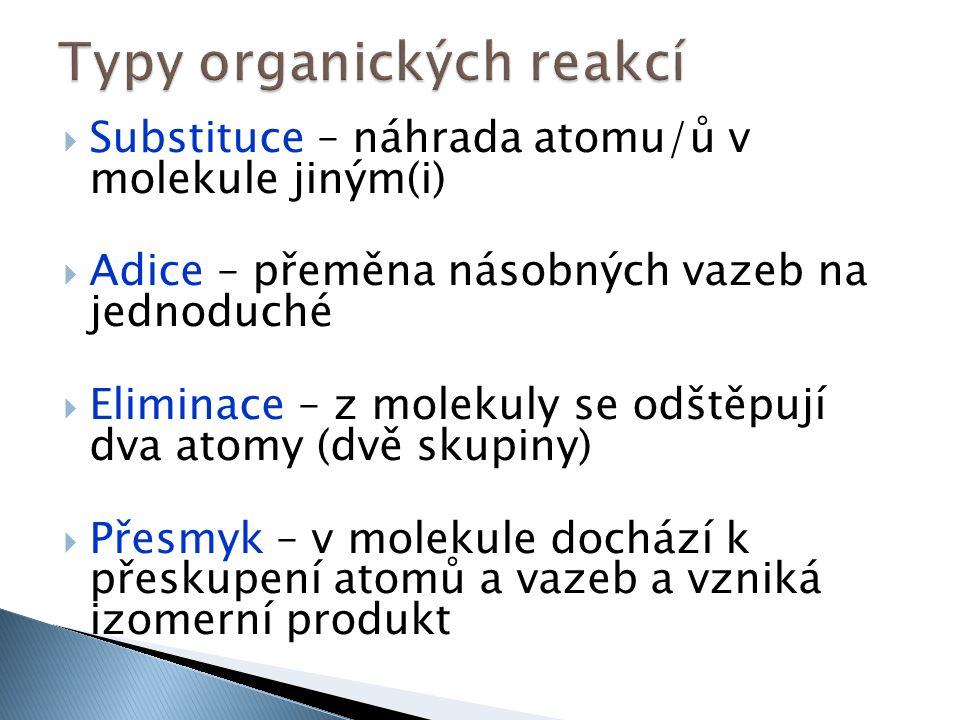  Substituce – náhrada atomu/ů v molekule jiným(i)  Adice – přeměna násobných vazeb na jednoduché  Eliminace – z molekuly se odštěpují dva atomy (dvě skupiny)  Přesmyk – v molekule dochází k přeskupení atomů a vazeb a vzniká izomerní produkt