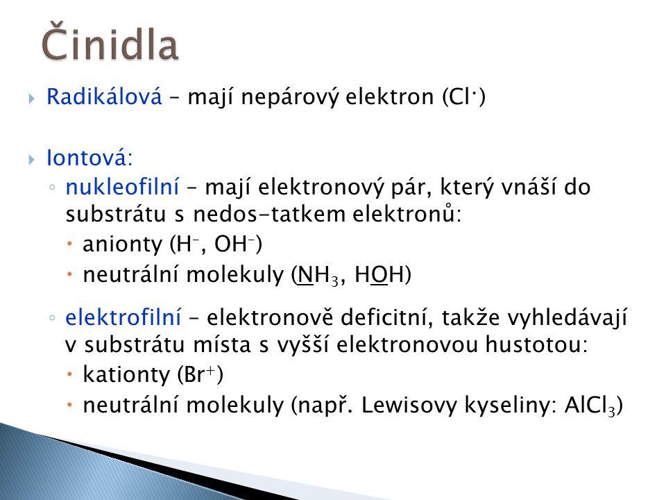  Radikálová – mají nepárový elektron (Cl )  Iontová: ◦ nukleofilní – mají elektronový pár, který vnáší do substrátu s nedos-tatkem elektronů:  anionty (H –, OH – )  neutrální molekuly (NH 3, HOH) ◦ elektrofilní – elektronově deficitní, takže vyhledávají v substrátu místa s vyšší elektronovou hustotou:  kationty (Br + )  neutrální molekuly (např.