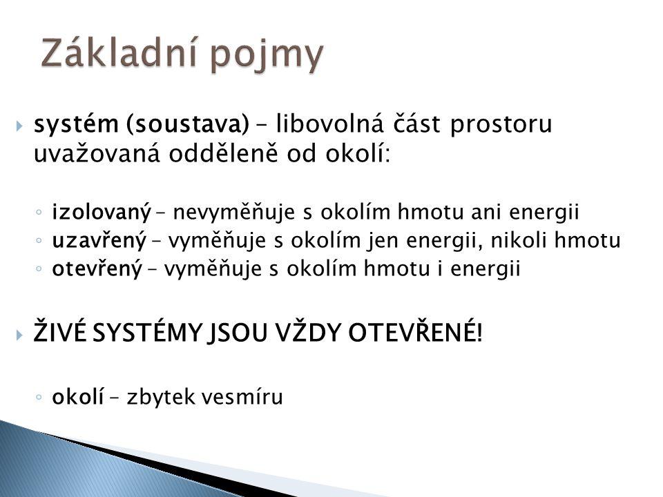 systém (soustava) – libovolná část prostoru uvažovaná odděleně od okolí: ◦ izolovaný – nevyměňuje s okolím hmotu ani energii ◦ uzavřený – vyměňuje s