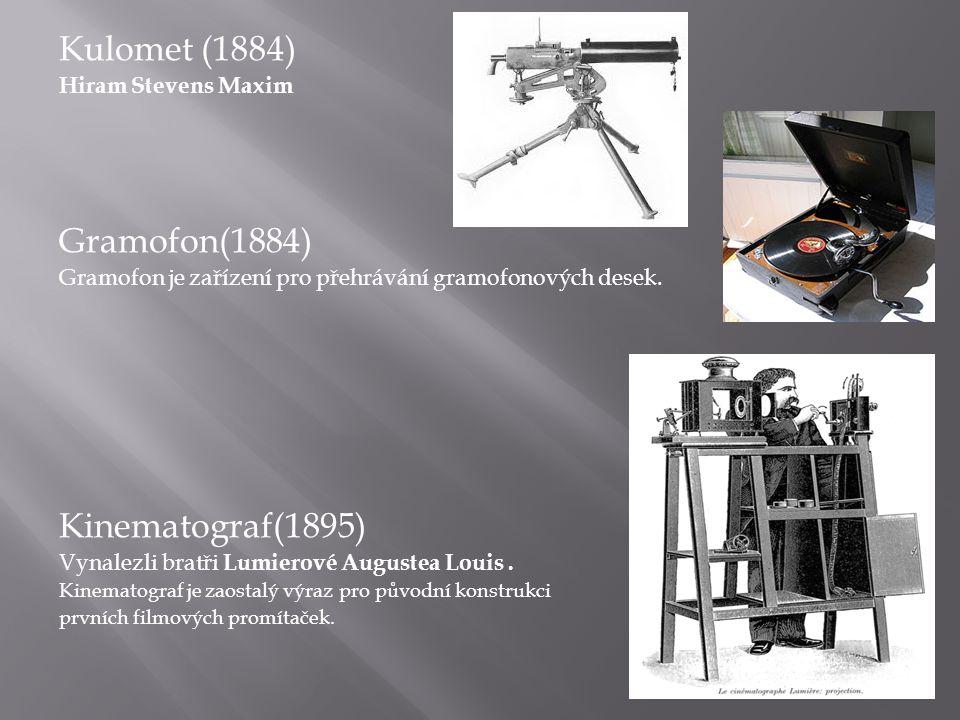 Kulomet (1884) Hiram Stevens Maxim Gramofon(1884) Gramofon je zařízení pro přehrávání gramofonových desek.