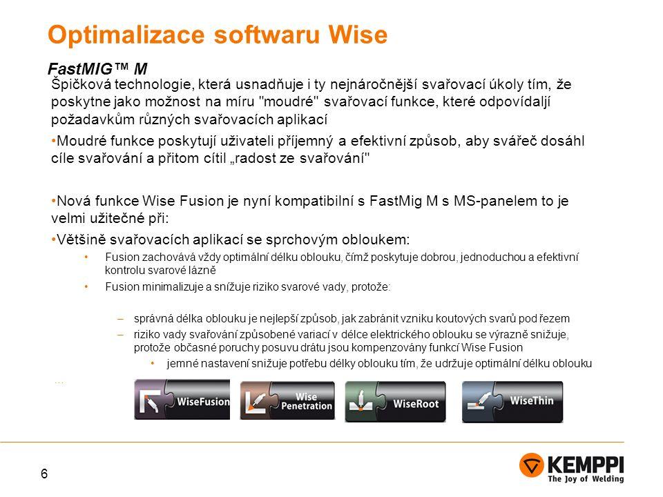 Příklad výhod, které můžou být dosaženy pomocí WiseFusion v mechanizované svařování.