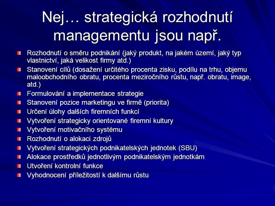 Nej… strategická rozhodnutí managementu jsou např.