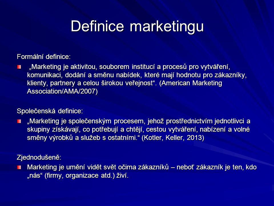 """Definice marketingu Formální definice: """"Marketing je aktivitou, souborem institucí a procesů pro vytváření, komunikaci, dodání a směnu nabídek, které mají hodnotu pro zákazníky, klienty, partnery a celou širokou veřejnost ."""