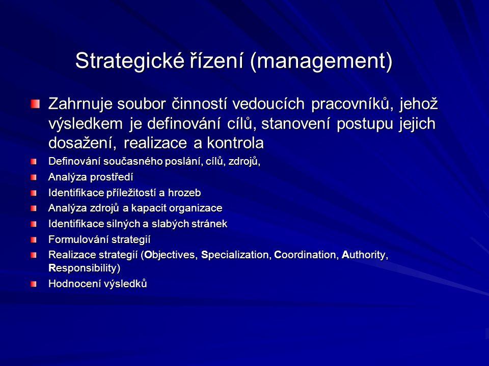 Zahrnuje soubor činností vedoucích pracovníků, jehož výsledkem je definování cílů, stanovení postupu jejich dosažení, realizace a kontrola Definování současného poslání, cílů, zdrojů, Analýza prostředí Identifikace příležitostí a hrozeb Analýza zdrojů a kapacit organizace Identifikace silných a slabých stránek Formulování strategií Realizace strategií (Objectives, Specialization, Coordination, Authority, Responsibility) Hodnocení výsledků Strategické řízení (management)