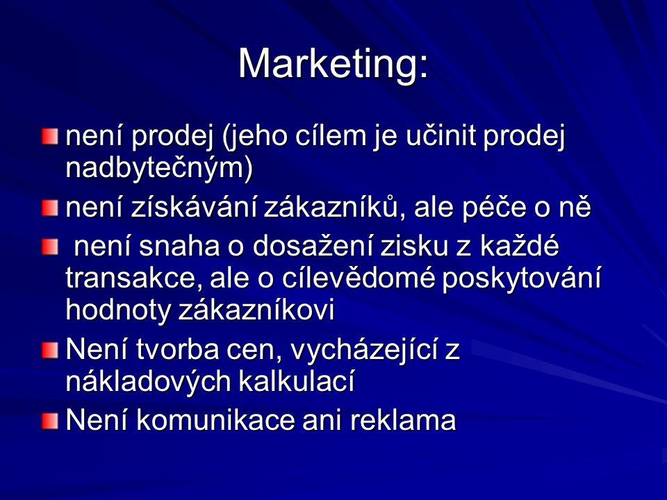 Marketing: není prodej (jeho cílem je učinit prodej nadbytečným) není získávání zákazníků, ale péče o ně není snaha o dosažení zisku z každé transakce, ale o cílevědomé poskytování hodnoty zákazníkovi není snaha o dosažení zisku z každé transakce, ale o cílevědomé poskytování hodnoty zákazníkovi Není tvorba cen, vycházející z nákladových kalkulací Není komunikace ani reklama