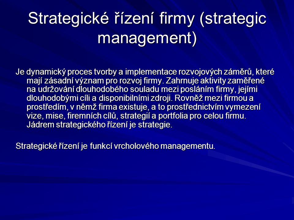 Strategické řízení firmy (strategic management) Je dynamický proces tvorby a implementace rozvojových záměrů, které mají zásadní význam pro rozvoj firmy.