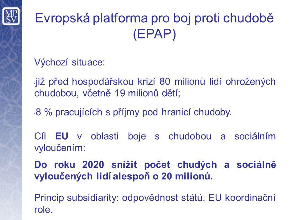 Evropská platforma pro boj proti chudobě (EPAP) Výchozí situace: již před hospodářskou krizí 80 milionů lidí ohrožených chudobou, včetně 19 milionů dětí; 8 % pracujících s příjmy pod hranicí chudoby.