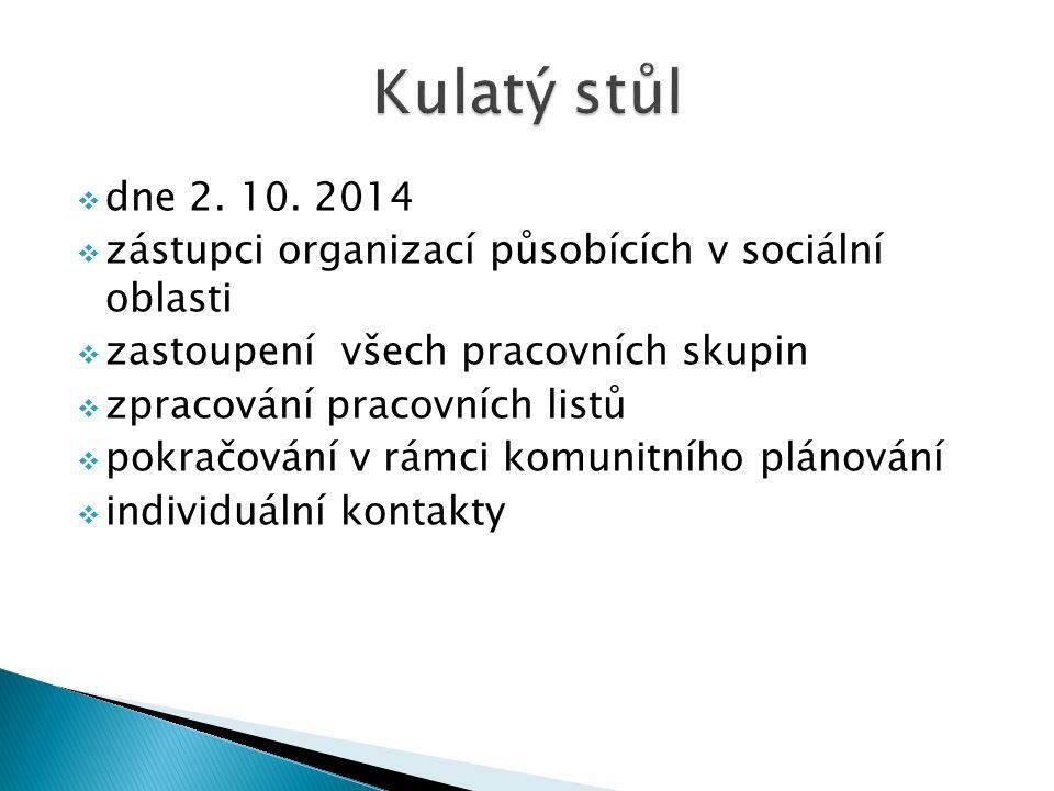  dne 2. 10. 2014  zástupci organizací působících v sociální oblasti  zastoupení všech pracovních skupin  zpracování pracovních listů  pokračování