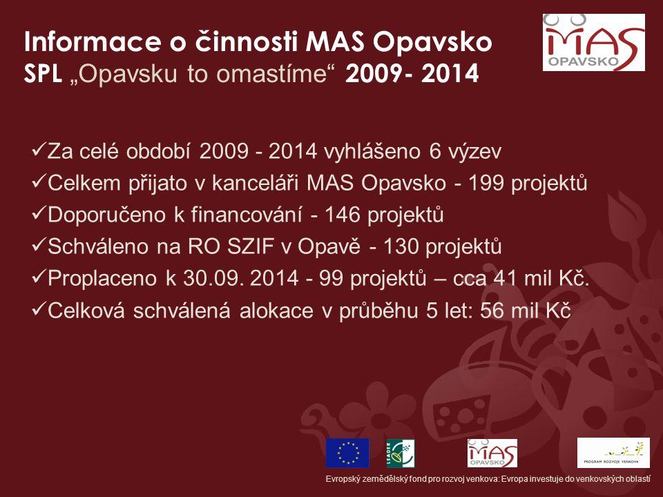 """Informace o činnosti MAS Opavsko SPL """"Opavsku to omastíme"""" 2009- 2014 Evropský zemědělský fond pro rozvoj venkova: Evropa investuje do venkovských obl"""