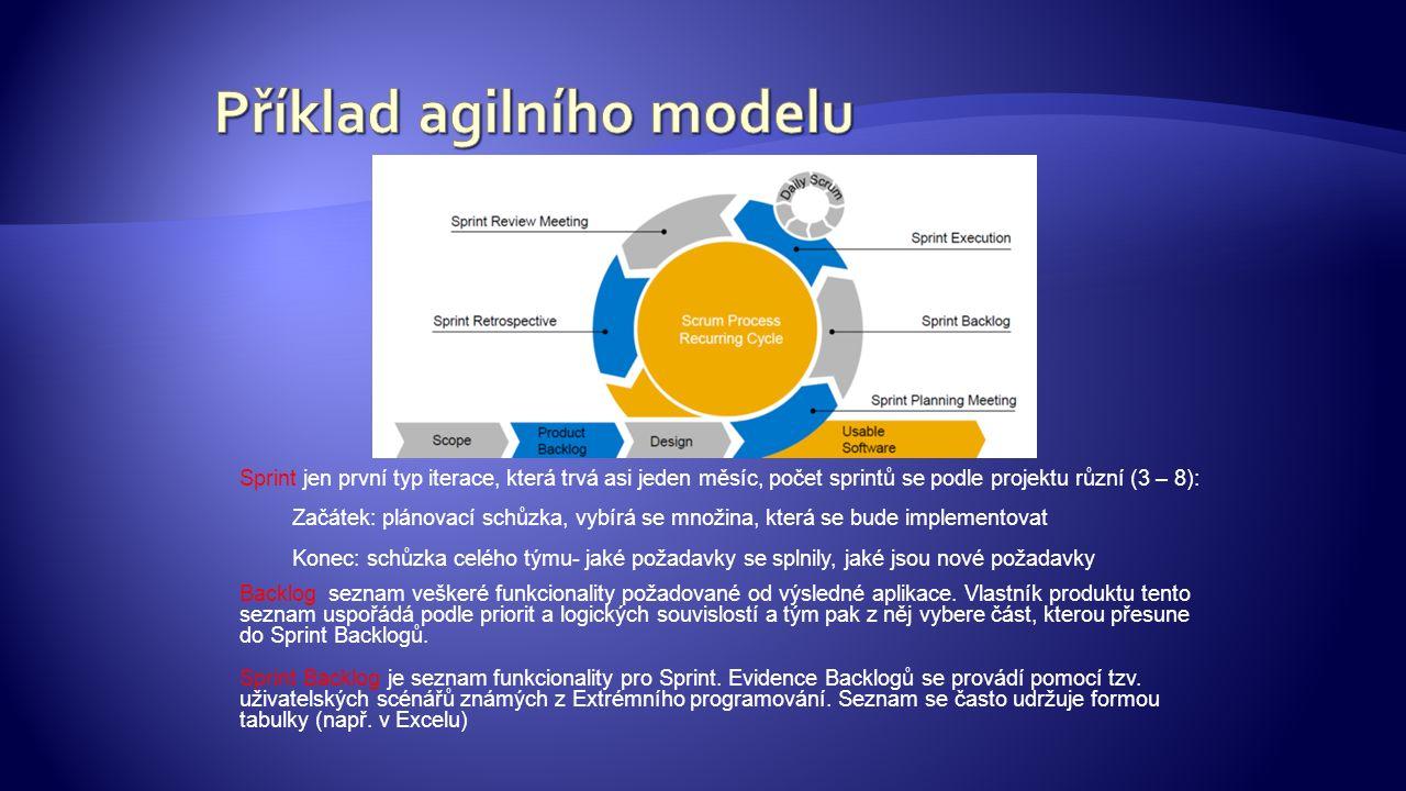 Sprint jen první typ iterace, která trvá asi jeden měsíc, počet sprintů se podle projektu různí (3 – 8): Začátek: plánovací schůzka, vybírá se množina, která se bude implementovat Konec: schůzka celého týmu- jaké požadavky se splnily, jaké jsou nové požadavky Backlog seznam veškeré funkcionality požadované od výsledné aplikace.