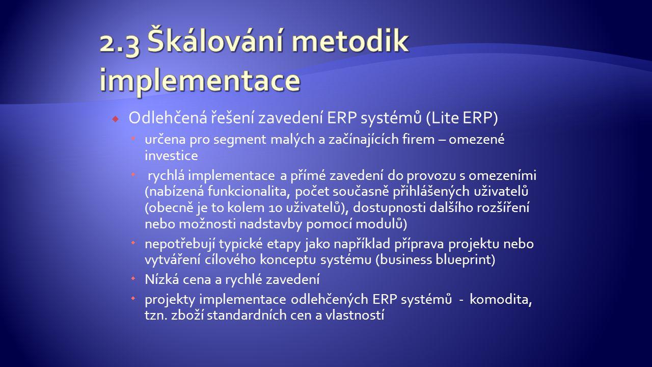  Odlehčená řešení zavedení ERP systémů (Lite ERP)  určena pro segment malých a začínajících firem – omezené investice  rychlá implementace a přímé zavedení do provozu s omezeními (nabízená funkcionalita, počet současně přihlášených uživatelů (obecně je to kolem 10 uživatelů), dostupnosti dalšího rozšíření nebo možnosti nadstavby pomocí modulů)  nepotřebují typické etapy jako například příprava projektu nebo vytváření cílového konceptu systému (business blueprint)  Nízká cena a rychlé zavedení  projekty implementace odlehčených ERP systémů - komodita, tzn.
