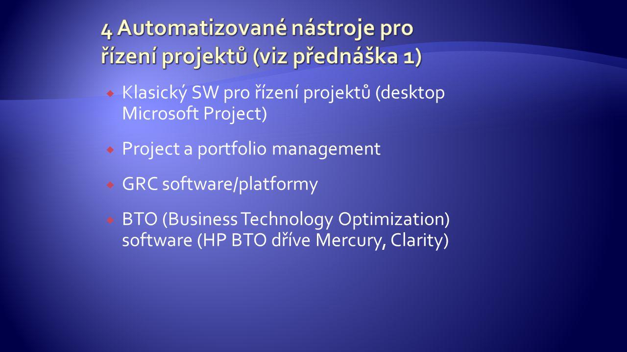  Klasický SW pro řízení projektů (desktop Microsoft Project)  Project a portfolio management  GRC software/platformy  BTO (Business Technology Optimization) software (HP BTO dříve Mercury, Clarity)