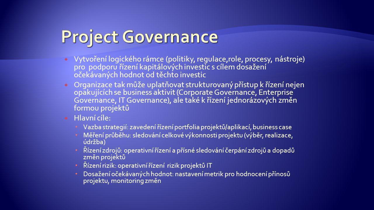  Vytvoření logického rámce (politiky, regulace,role, procesy, nástroje) pro podporu řízení kapitálových investic s cílem dosažení očekávaných hodnot od těchto investic  Organizace tak může uplatňovat strukturovaný přístup k řízení nejen opakujících se business aktivit (Corporate Governance, Enterprise Governance, IT Governance), ale také k řízení jednorázových změn formou projektů  Hlavní cíle:  Vazba strategií: zavedení řízení portfolia projektů/aplikací, business case  Měření průběhu: sledování celkové výkonnosti projektu (výběr, realizace, údržba)  Řízení zdrojů: operativní řízení a přísné sledování čerpání zdrojů a dopadů změn projektů  Řízení rizik: operativní řízení rizik projektů IT  Dosažení očekávaných hodnot: nastavení metrik pro hodnocení přínosů projektu, monitoring změn