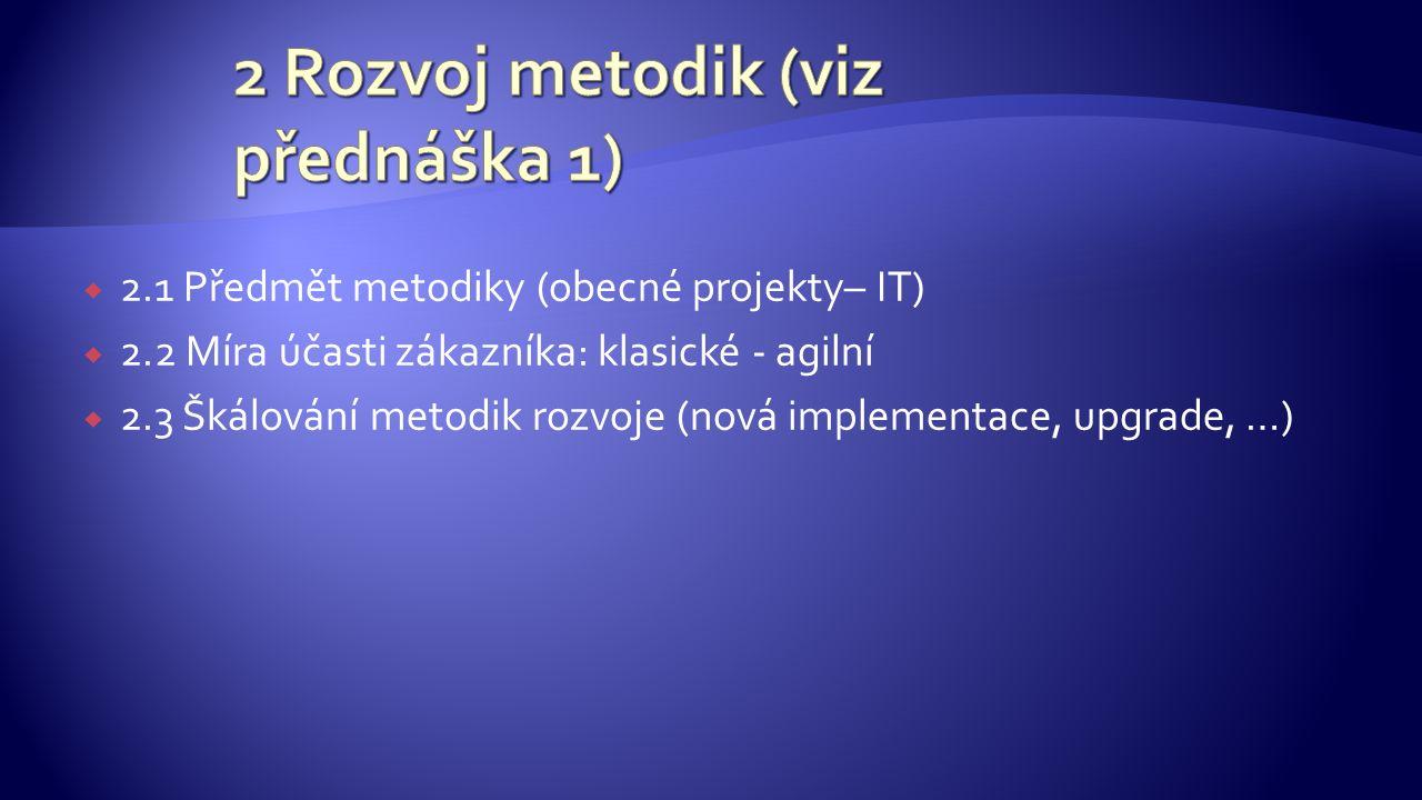 2.1 Předmět metodiky (obecné projekty– IT)  2.2 Míra účasti zákazníka: klasické - agilní  2.3 Škálování metodik rozvoje (nová implementace, upgrade, …)