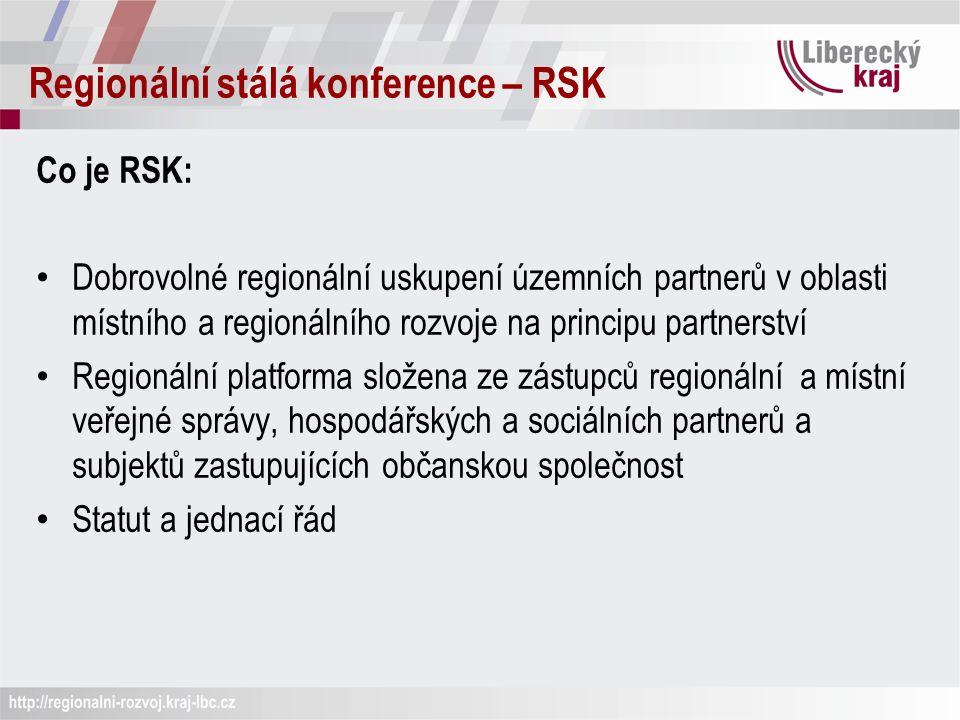 Regionální stálá konference – RSK Co je RSK: Dobrovolné regionální uskupení územních partnerů v oblasti místního a regionálního rozvoje na principu partnerství Regionální platforma složena ze zástupců regionální a místní veřejné správy, hospodářských a sociálních partnerů a subjektů zastupujících občanskou společnost Statut a jednací řád