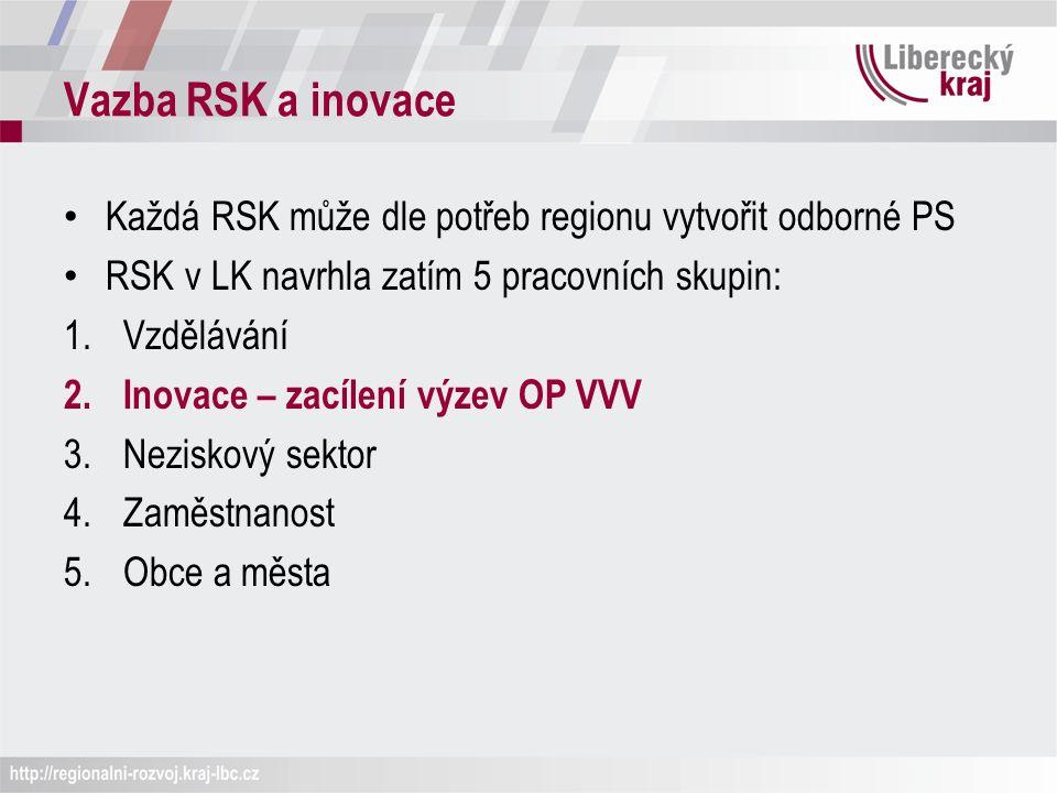 Vazba RSK a inovace Každá RSK může dle potřeb regionu vytvořit odborné PS RSK v LK navrhla zatím 5 pracovních skupin: 1.Vzdělávání 2.Inovace – zacílení výzev OP VVV 3.Neziskový sektor 4.Zaměstnanost 5.Obce a města