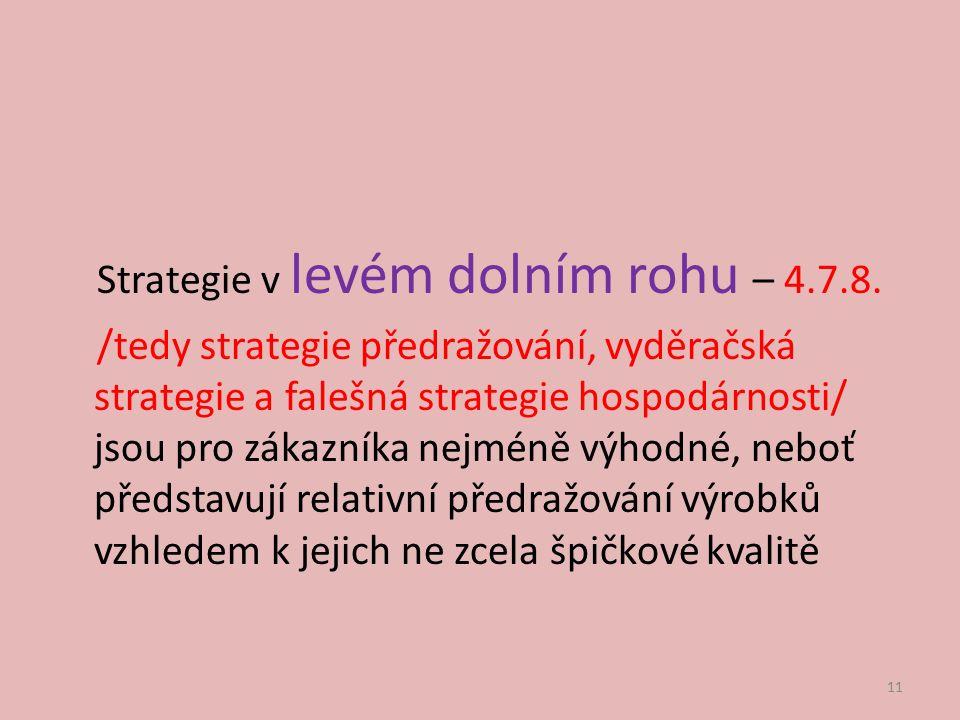 Strategie v levém dolním rohu – 4.7.8. /tedy strategie předražování, vyděračská strategie a falešná strategie hospodárnosti/ jsou pro zákazníka nejmén