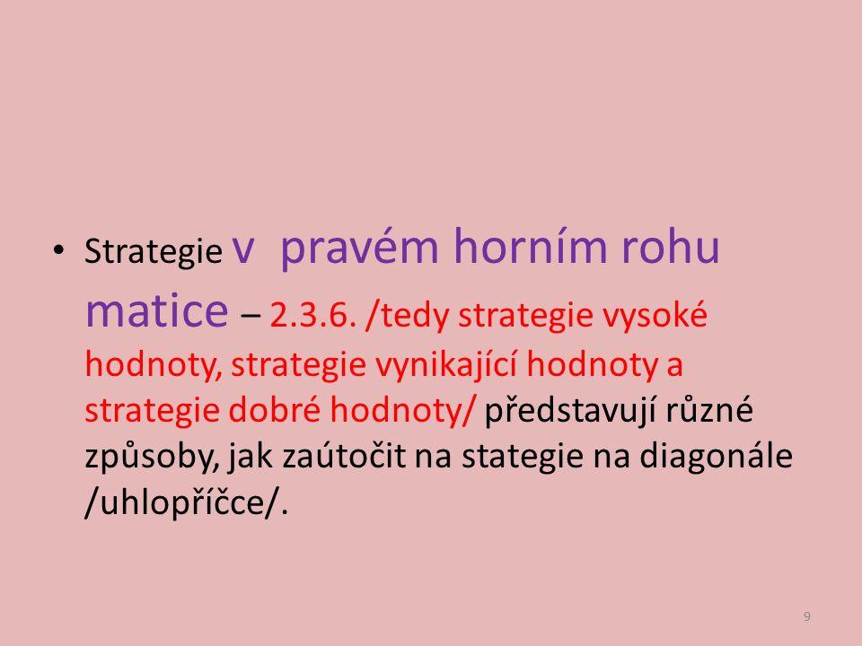 Strategie v pravém horním rohu matice – 2.3.6. /tedy strategie vysoké hodnoty, strategie vynikající hodnoty a strategie dobré hodnoty/ představují růz