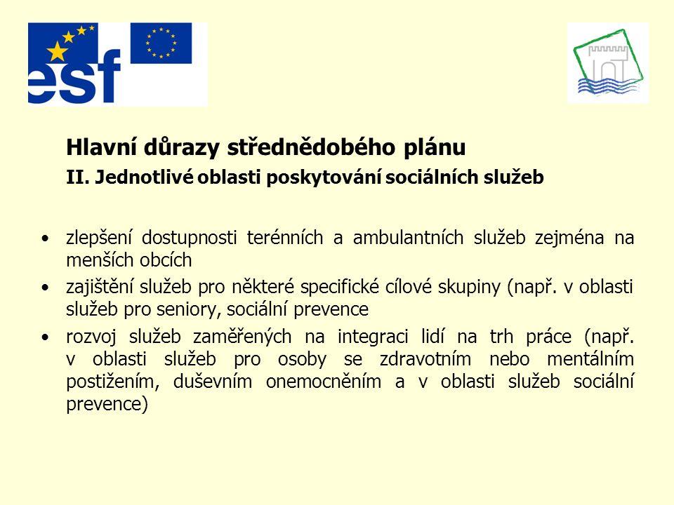 Přínos střednědobého plánu první ucelený souhrn informací o poskytování sociálních služeb v kraji podpůrný dokument pro přidělování finančních prostředků na zajištění sociálních služeb ze státního rozpočtu vliv na přidělování finančních prostředků v oblasti sociálních služeb ze strukturálních fondů EU (zejména ESF) –příklad: individuální projekt kraje na zajištění služeb sociální prevence