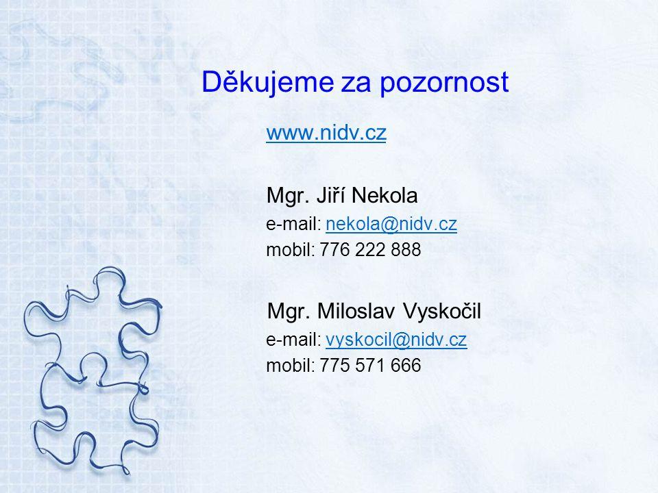 Děkujeme za pozornost www.nidv.cz Mgr. Jiří Nekola e-mail: nekola@nidv.cznekola@nidv.cz mobil: 776 222 888 Mgr. Miloslav Vyskočil e-mail: vyskocil@nid