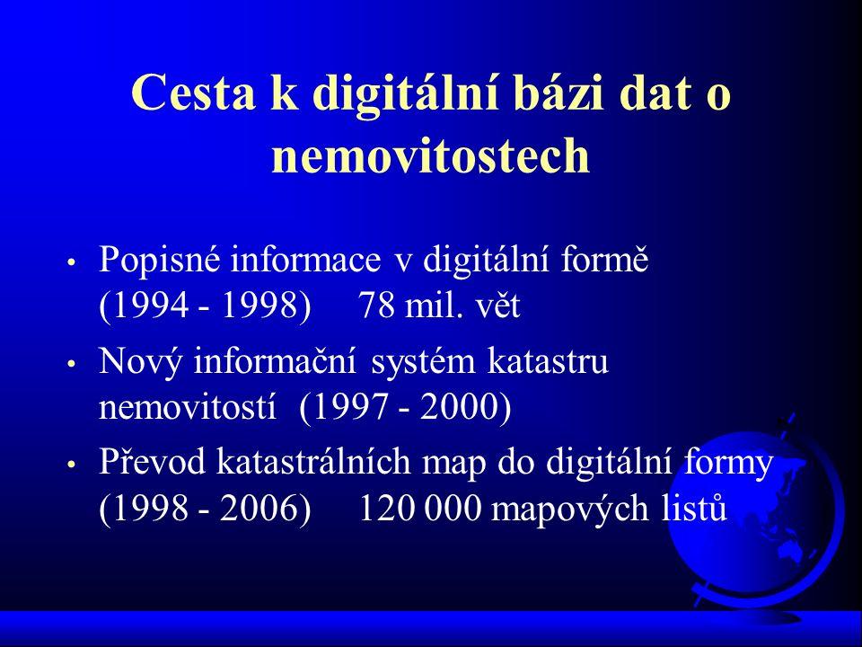 Cesta k digitální bázi dat o nemovitostech Popisné informace v digitální formě (1994 - 1998) 78 mil. vět Nový informační systém katastru nemovitostí (