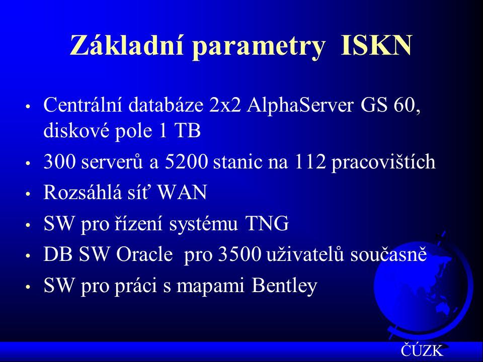 Základní parametry ISKN Centrální databáze 2x2 AlphaServer GS 60, diskové pole 1 TB 300 serverů a 5200 stanic na 112 pracovištích Rozsáhlá síť WAN SW pro řízení systému TNG DB SW Oracle pro 3500 uživatelů současně SW pro práci s mapami Bentley ČÚZK