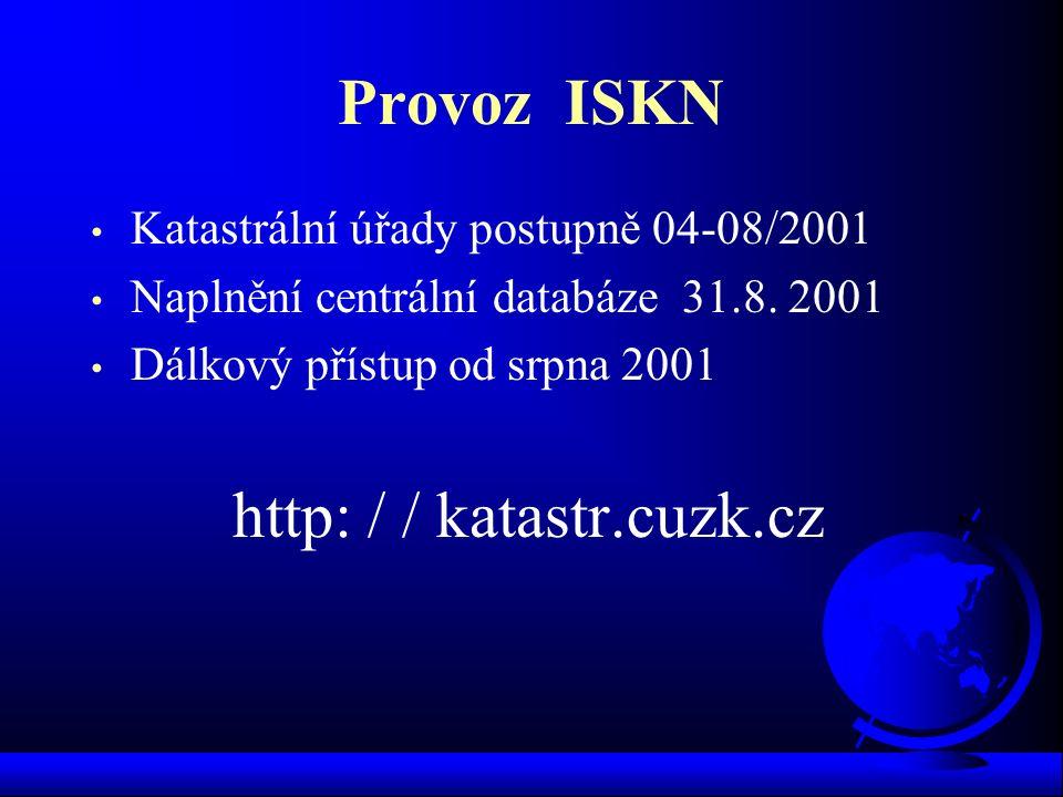 Provoz ISKN Katastrální úřady postupně 04-08/2001 Naplnění centrální databáze 31.8. 2001 Dálkový přístup od srpna 2001 http: / / katastr.cuzk.cz