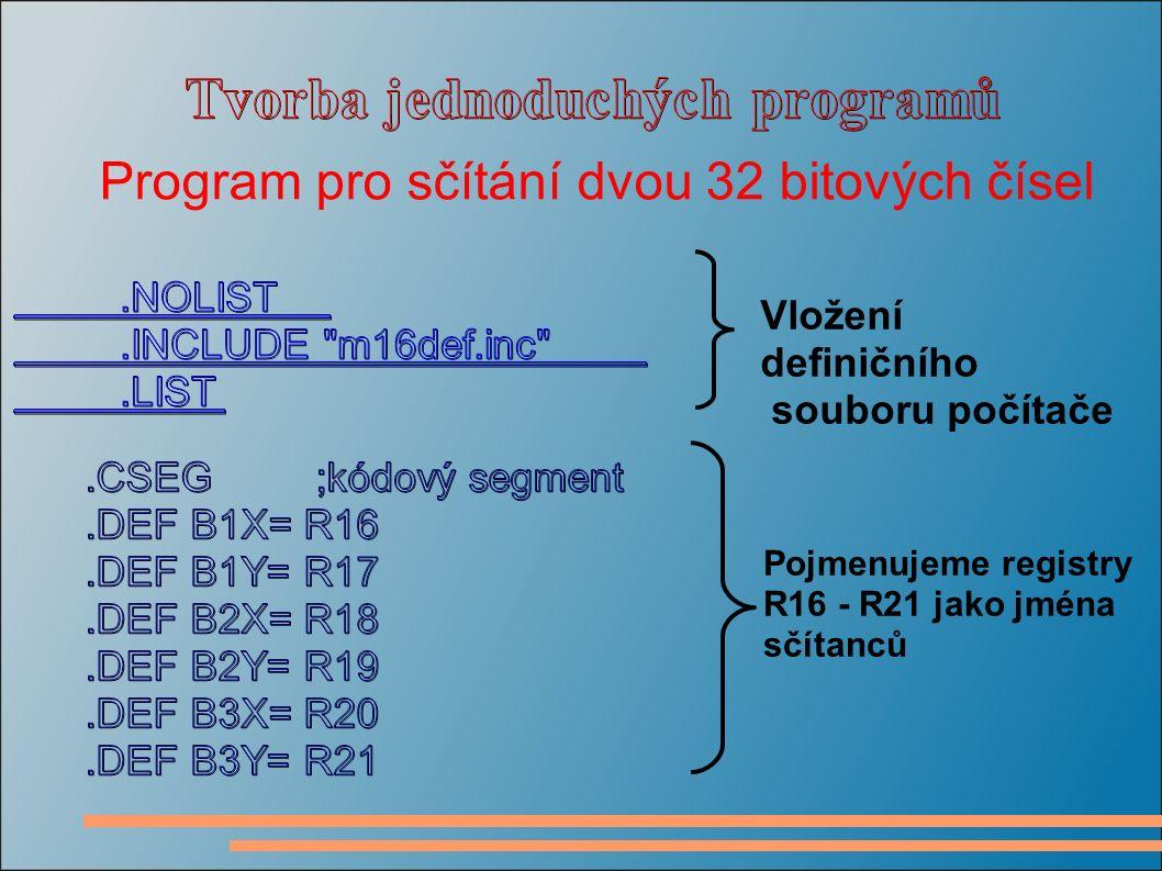 Vložení definičního souboru počítače Pojmenujeme registry R16 - R21 jako jména sčítanců