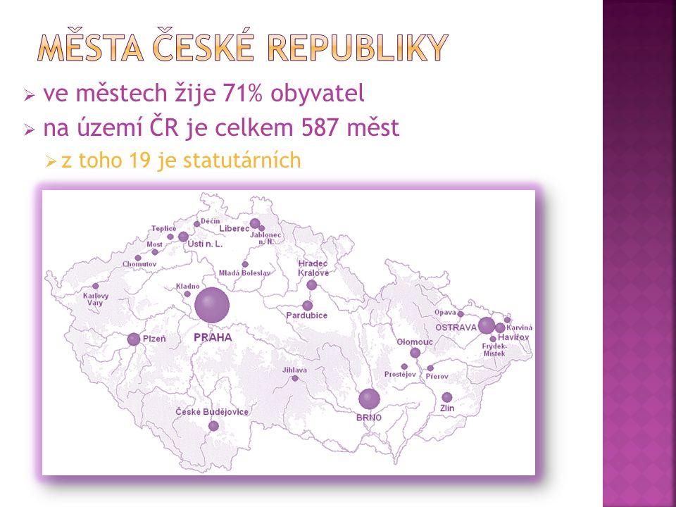  ve městech žije 71% obyvatel  na území ČR je celkem 587 měst  z toho 19 je statutárních