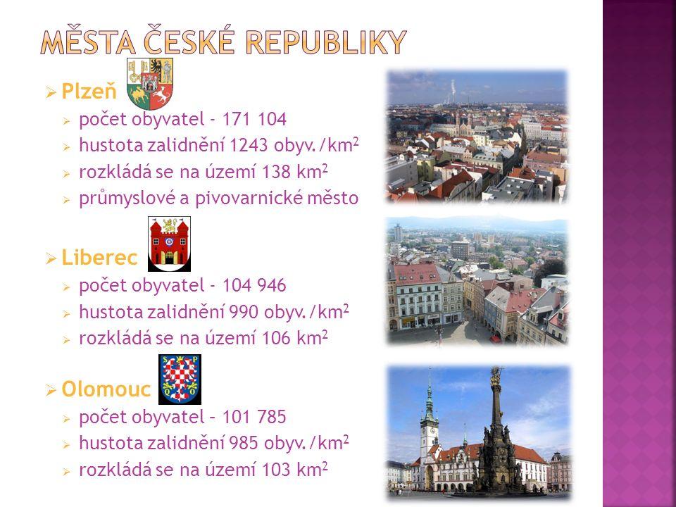  Plzeň  počet obyvatel - 171 104  hustota zalidnění 1243 obyv./km 2  rozkládá se na území 138 km 2  průmyslové a pivovarnické město  Liberec  počet obyvatel - 104 946  hustota zalidnění 990 obyv./km 2  rozkládá se na území 106 km 2  Olomouc  počet obyvatel – 101 785  hustota zalidnění 985 obyv./km 2  rozkládá se na území 103 km 2