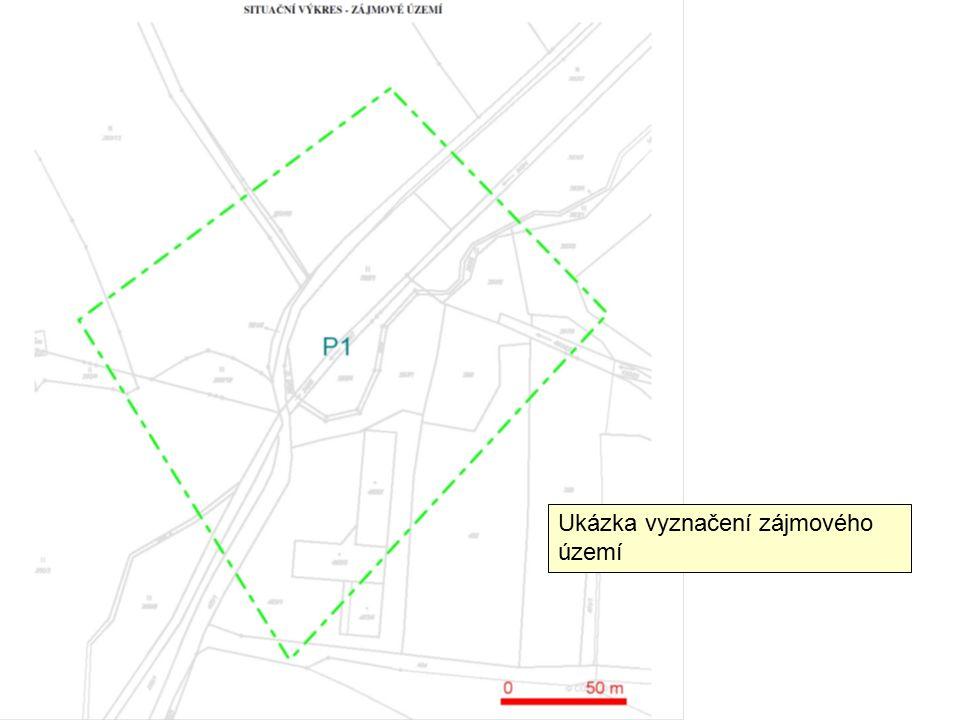 Ukázka zakreslení vedení kabelů telefonu od správce této sítě vyznačené do zájmového území