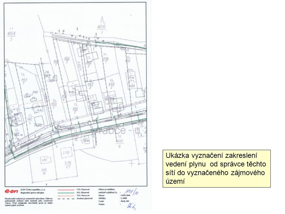 Ukázka vyznačení zakreslení vedení plynu od správce těchto sítí do vyznačeného zájmového území