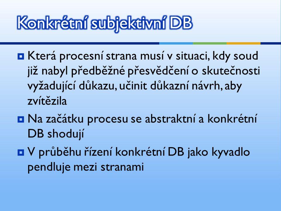  Která procesní strana nese DB před procesem a na jeho začátku  Vzhledem k tomu, že v této fázi vždy subjektivní DB odpovídá objektivnímu DB, je abs