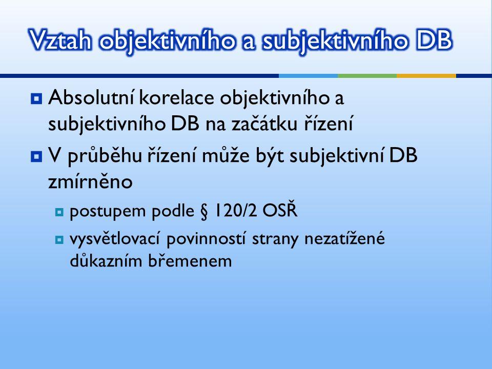  Též DB formální nebo břemeno vedení důkazu  Subjektivní DB určuje, která procesní strana má dokazovat určité skutečnosti, aby ve sporu uspěla  Jde o procesní břemeno – strana může vlastní aktivní procesní činností odvrátit nepříznivé následky