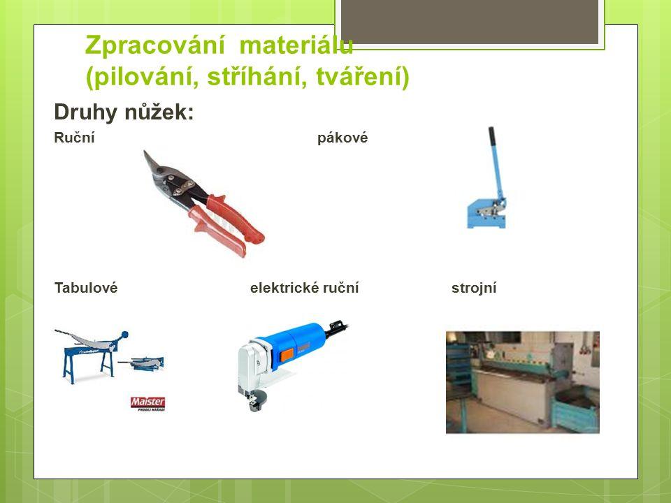 Zpracování materiálu (pilování, stříhání, tváření) Druhy nůžek: Ručnípákové Tabulovéelektrické ručnístrojní