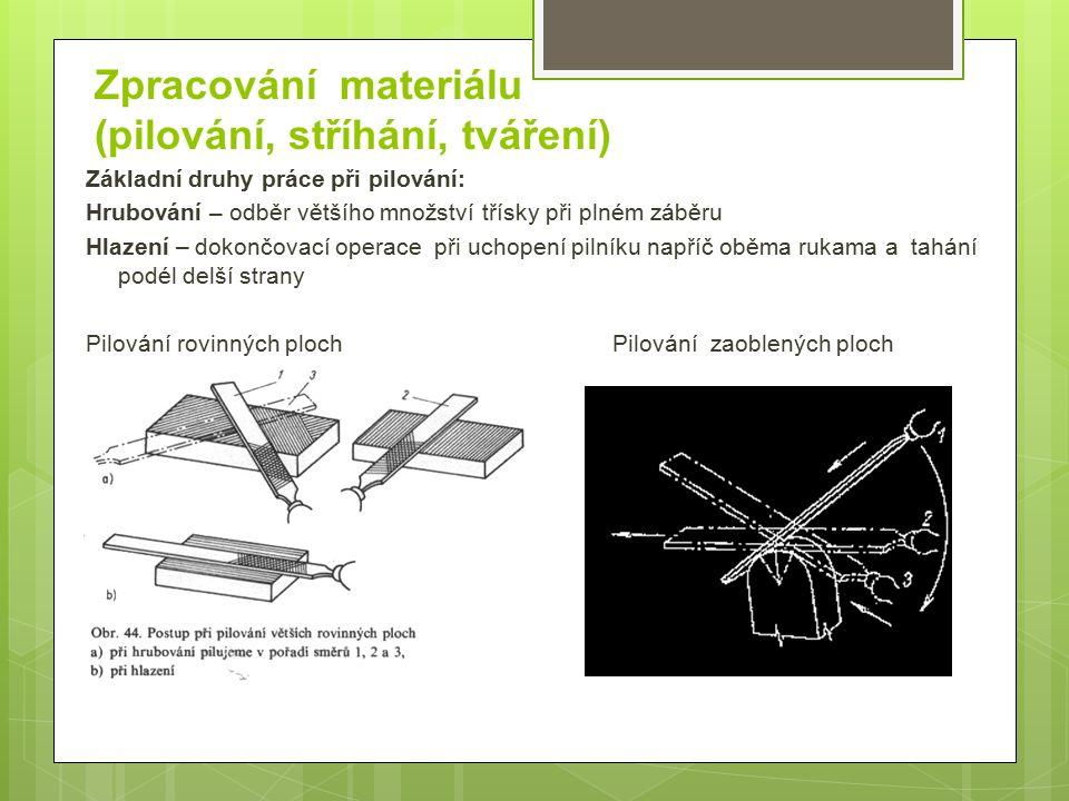 Zpracování materiálu (pilování, stříhání, tváření) Základní druhy práce při pilování: Hrubování – odběr většího množství třísky při plném záběru Hlaze