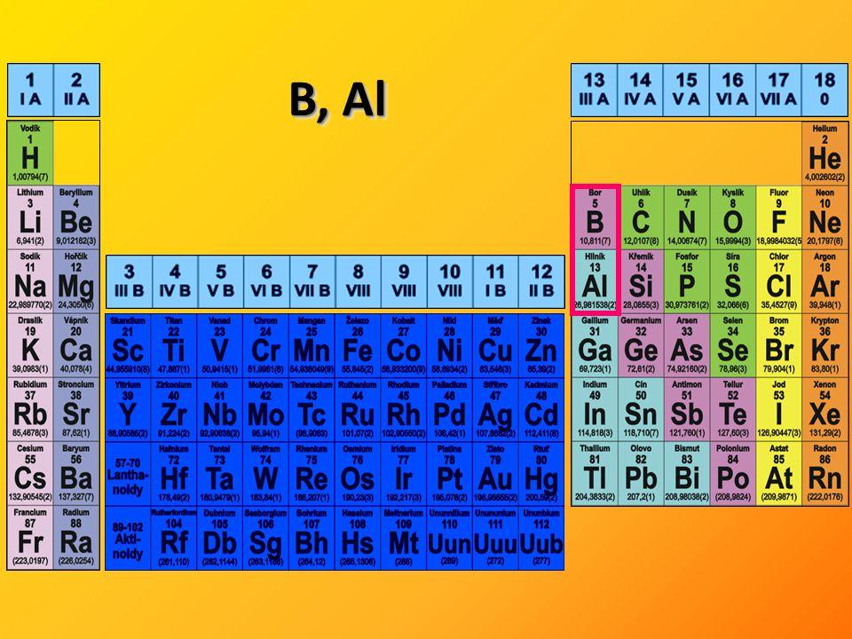 Výroba: přímá syntéza z prvků, elektrolytické vylučování z roztavených solí, redukce oxidů B 4 C Použití: tepelně a chemicky namáhané povrchy (trysky, elektrody, regulační tyče) Borany - sloučeniny boru s vodíkem - složité vazebné poměry – třícenterní elektrondeficitní vazby - plynné, kapalné i pevné sloučeniny, reaktivní (snaha přejít na vysoce stabilní B 12 a H 2 ) diboran: Výroba: vychází se z diboranu, diboran: 2 NaBH 4 + 2 H 3 PO 4  B 2 H 6 + 2 NaH 2 PO 4 + 2 H 2 Průmyslově: 6 NaH + 2 BF 3  2 B 2 H 6 + 6 NaF