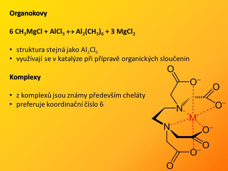 Organokovy 6 CH 3 MgCl + AlCl 3  Al 2 (CH 3 ) 6 + 3 MgCl 2 struktura stejná jako Al 2 Cl 6 využívají se v katalýze při přípravě organických sloučeninKomplexy z komplexů jsou známy především cheláty preferuje koordinační číslo 6
