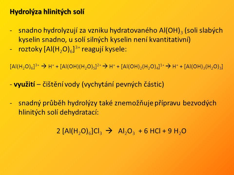 Hydrolýza hlinitých solí -snadno hydrolyzují za vzniku hydratovaného Al(OH) 3 (soli slabých kyselin snadno, u solí silných kyselin není kvantitativní) -roztoky [Al(H 2 O) 6 ] 3+ reagují kysele: [Al(H 2 O) 6 ] 3+  H + + [Al(OH)(H 2 O) 5 ] 2+  H + + [Al(OH) 2 (H 2 O) 4 ] 1+  H + + [Al(OH) 3 (H 2 O) 3 ] - využití – čištění vody (vychytání pevných částic) -snadný průběh hydrolýzy také znemožňuje přípravu bezvodých hlinitých solí dehydratací: 2 [Al(H 2 O) 6 ]Cl 3  Al 2 O 3 + 6 HCl + 9 H 2 O
