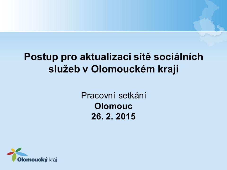 Postup pro aktualizaci sítě sociálních služeb v Olomouckém kraji  Účel Postupu stanovení způsobu realizace změn v síti sociálních služeb v Olomouckém kraji financovaných z rozpočtu Olomouckého kraje postup definuje proces zařazení nové sociální služby do sítě sociálních služeb a akceptace změn u sociální služby, která je součástí sítě sociálních služeb  dne 4.