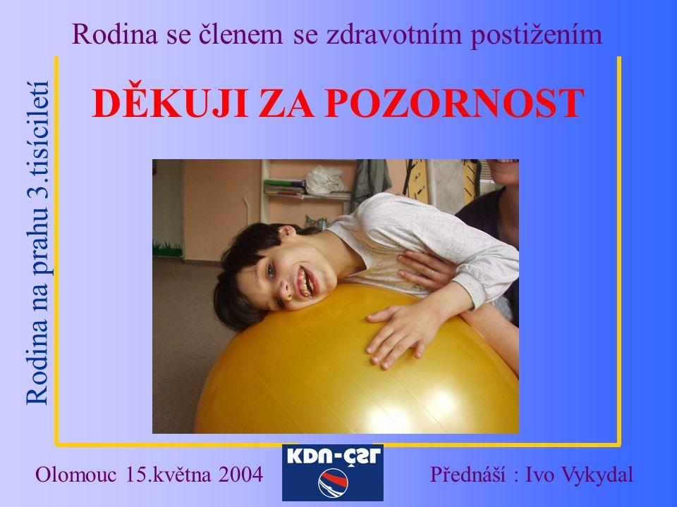 Rodina na prahu 3.tisíciletí Rodina se členem se zdravotním postižením Olomouc 15.května 2004Přednáší : Ivo Vykydal DĚKUJI ZA POZORNOST