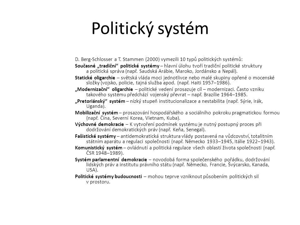 """Politický systém D. Berg-Schlosser a T. Stammen (2000) vymezili 10 typů politických systémů: Současné """"tradiční"""" politické systémy – hlavní úlohu tvoř"""