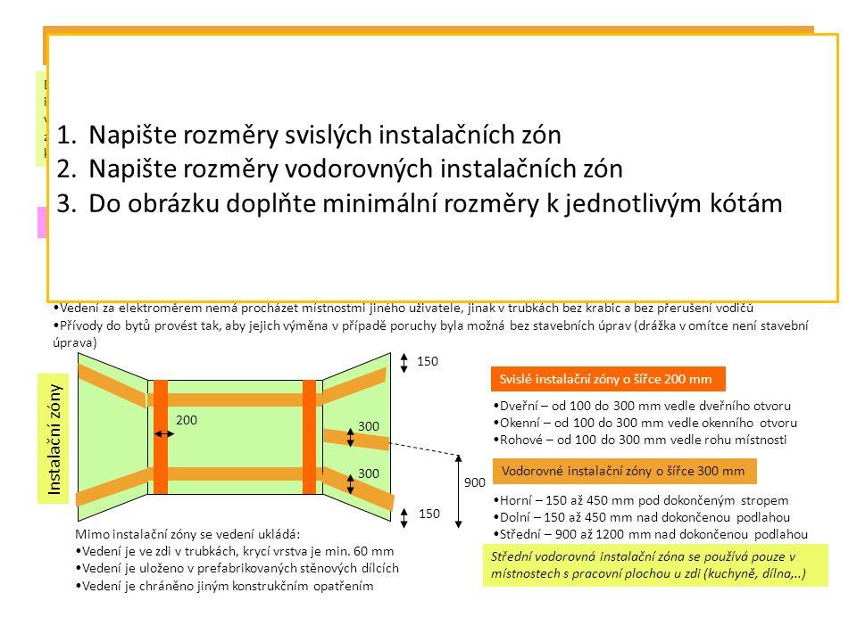 Minimální počty obvodů v bytech, světelné a zásuvkové obvody Velikost kategorie bytu – plocha bytu III až IVV až VIII Do 50 m 2 Do 75 m 2 Do 100 m 2 Do 125 m 2 Nad 125 m 2 Světelný1 (0)1122 Zásuvkový12 (1)3 (2) 4 (3) Pro bytové jádro(1) 1)Světelný obvod je určen pro pevné připojení svítidel, popřípadě pro připojení svítidel na zásuvky ovládané spínači.