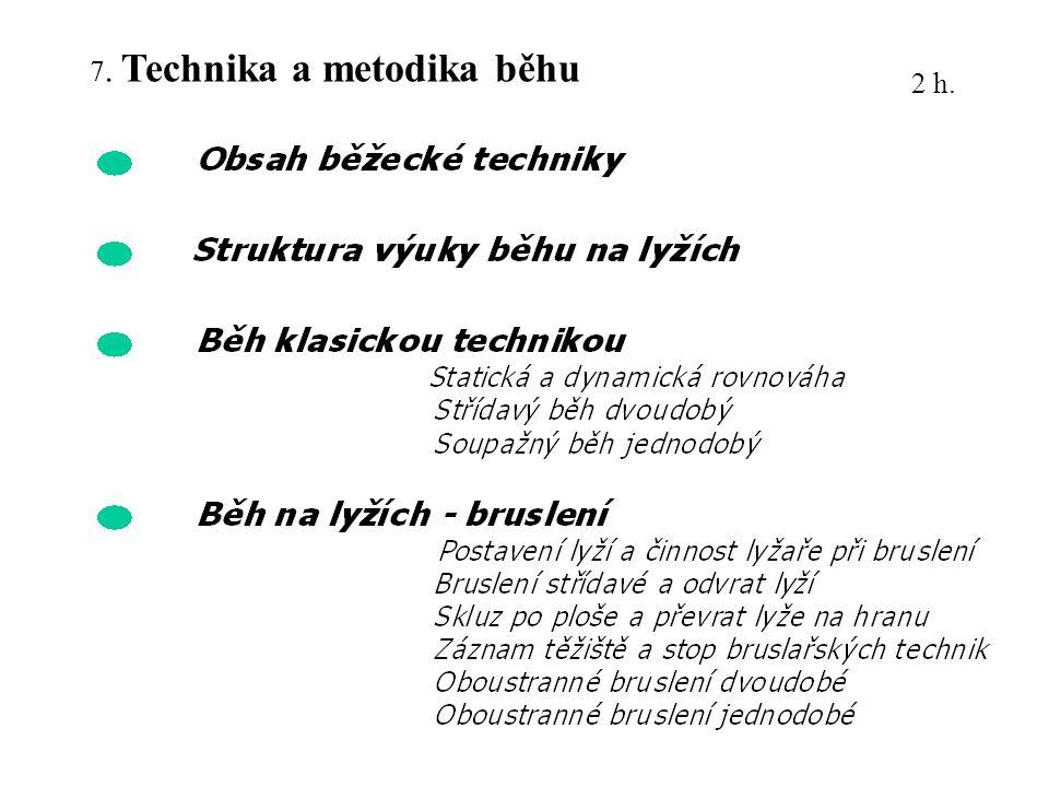 7. Technika a metodika běhu 2 h.