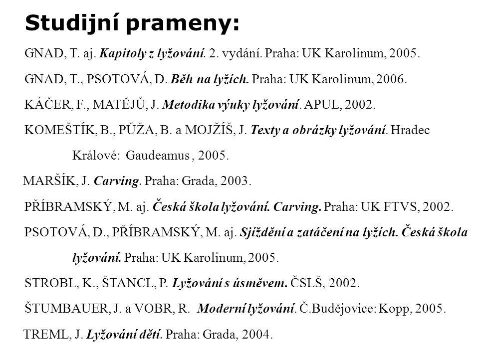 GNAD, T. aj. Kapitoly z lyžování. 2. vydání. Praha: UK Karolinum, 2005.